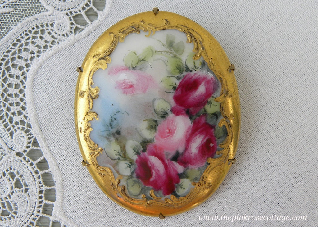 Large Antique Victorian Edwardian Hand Painted Pink Roses Brooch Pin - The Pink Rose Cottage