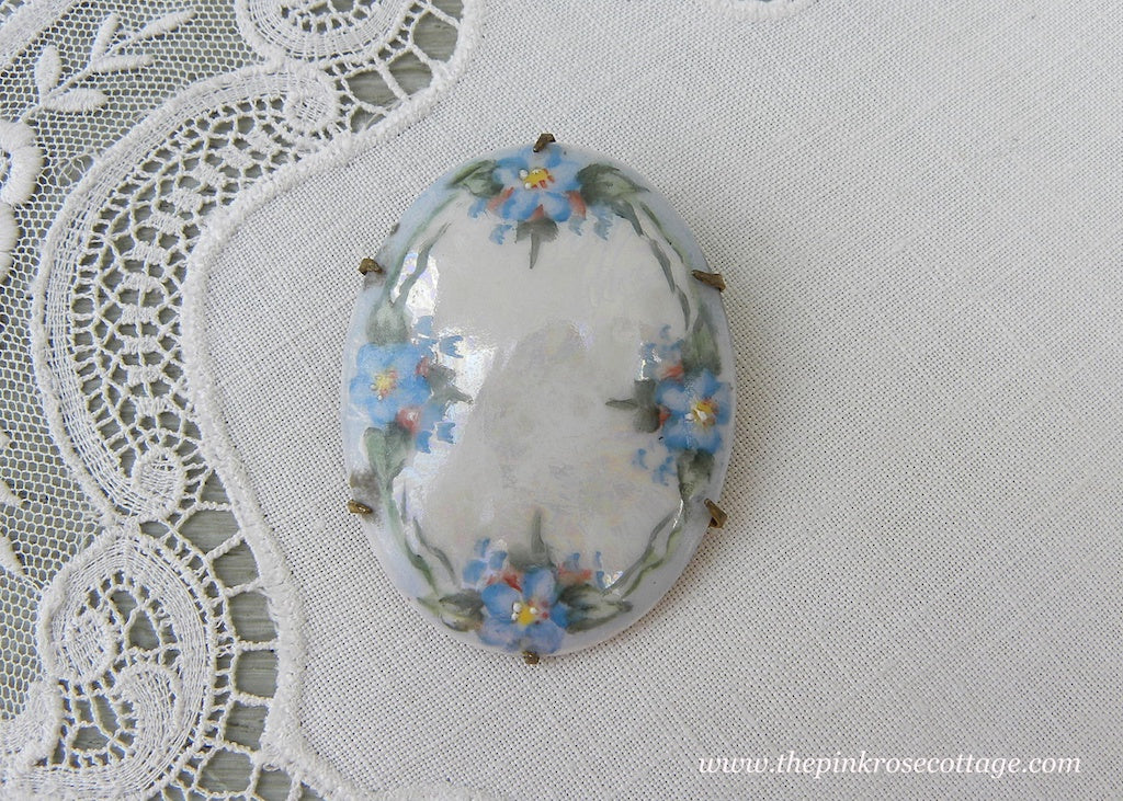 Antique Victorian Edwardian Hand Painted Forget-Me-Not Brooch Pin - The Pink Rose Cottage