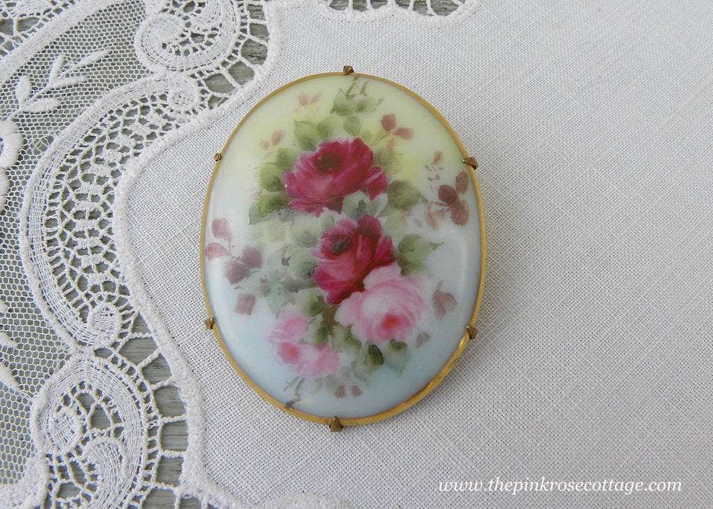 Antique Victorian Edwardian Hand Painted Pink Roses Brooch Pin - The Pink Rose Cottage