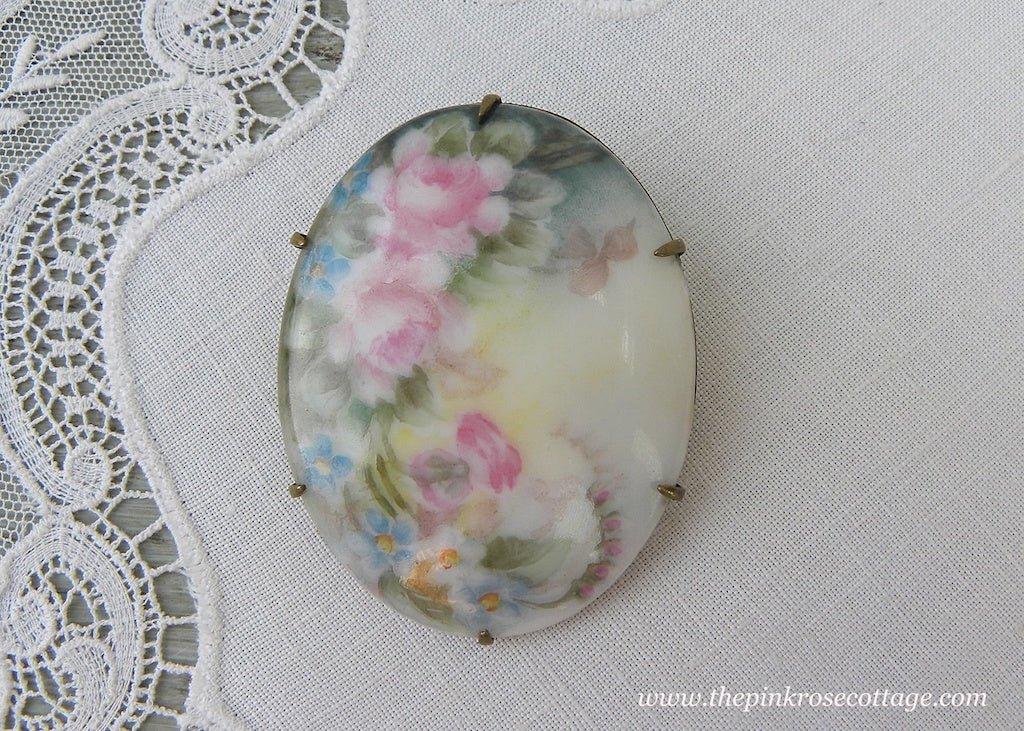 Antique Victorian Edwardian Hand Painted Pink Roses & Forget-Me-Nots Brooch - The Pink Rose Cottage