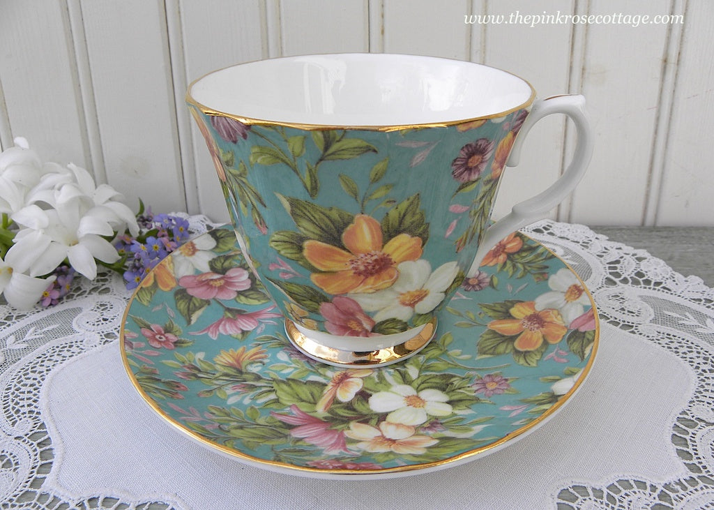 Bethany Teal Chintz Pink White Yellow Zinna Teacup and Saucer