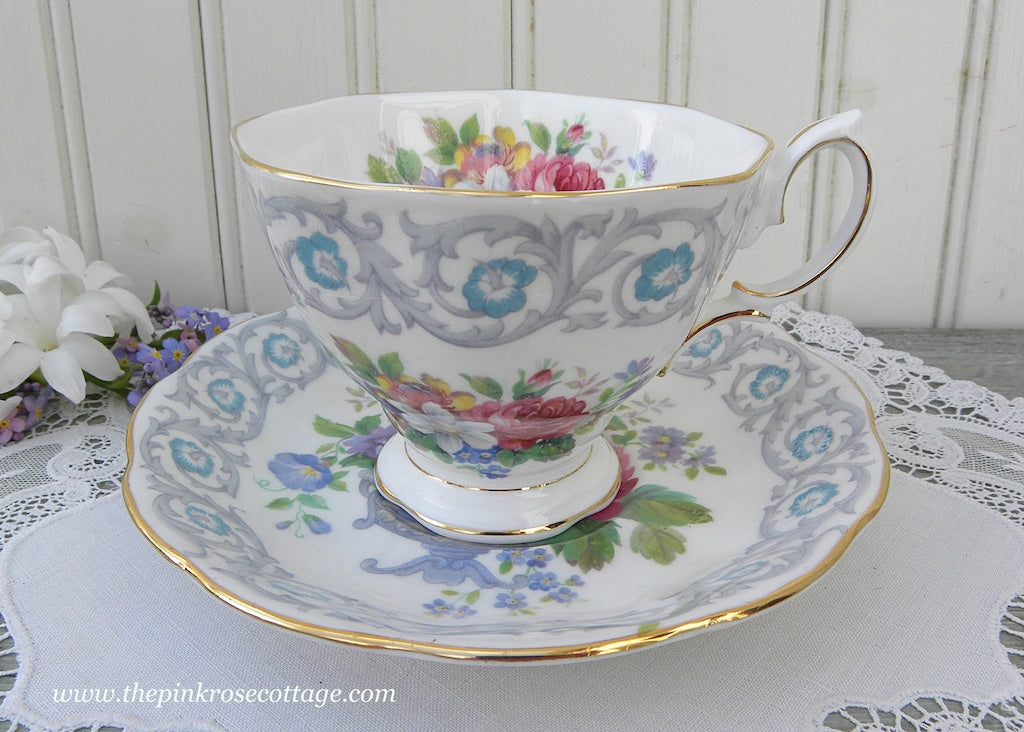 Vintage Royal Albert Fragrance Scrolls and Wild Flower Teacup and Saucer