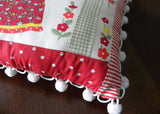 Repurposed Vintage Tea Towel Black Americana Mammy Pillow Cherries and Polka Dots - The Pink Rose Cottage