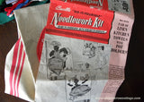 2 Vintage Bucilla Tea Kitchen Towels Embroidery Kit Maid and Chef Black Americana