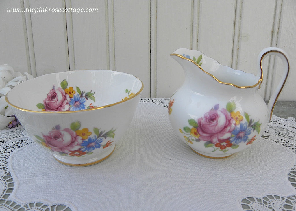 Vintage Pink Roses and Wildflowers Sugar and Creamer