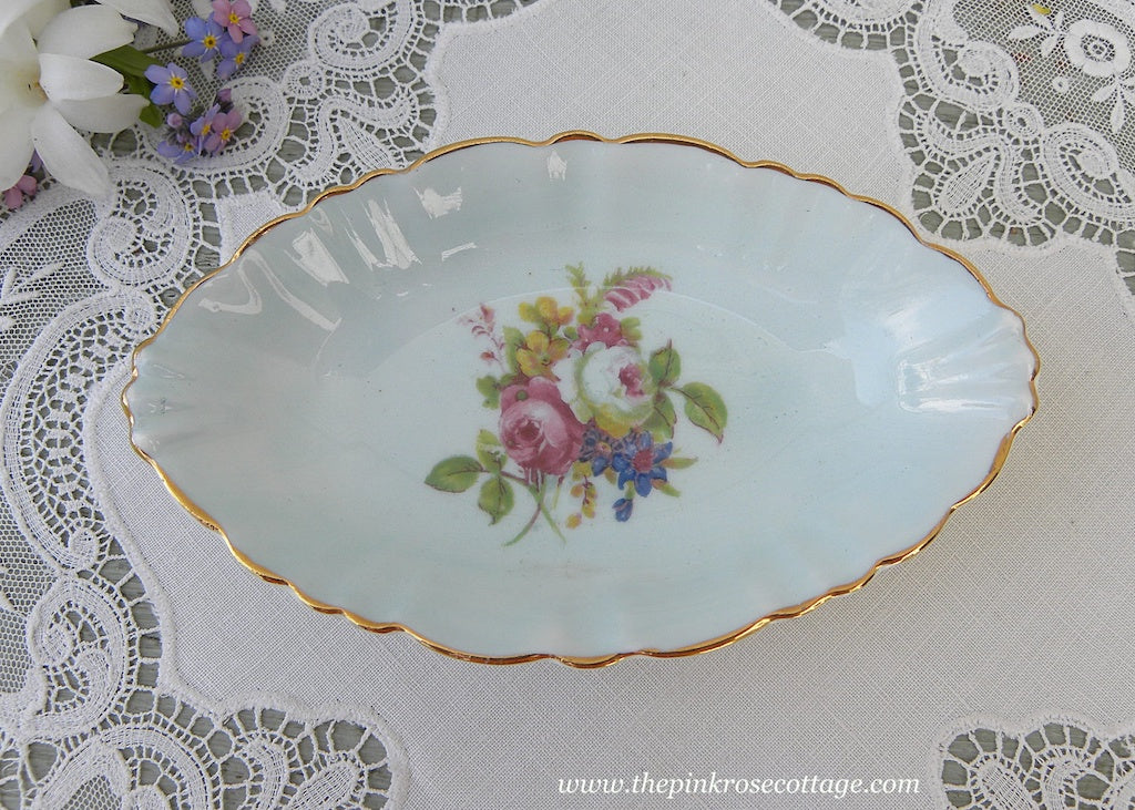 Vintage EB Foley Pin Tray Dish Pink Roses on Soft Blue