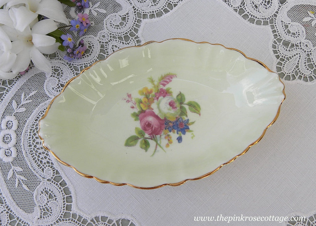 Vintage EB Foley Pin Tray Dish Pink Roses on Soft Green