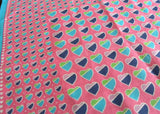 Vintage Pink and Blue Hearts Valentines Day Handkerchief