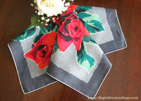 Vintage Bold Red Roses Handkerchief Valentines Day
