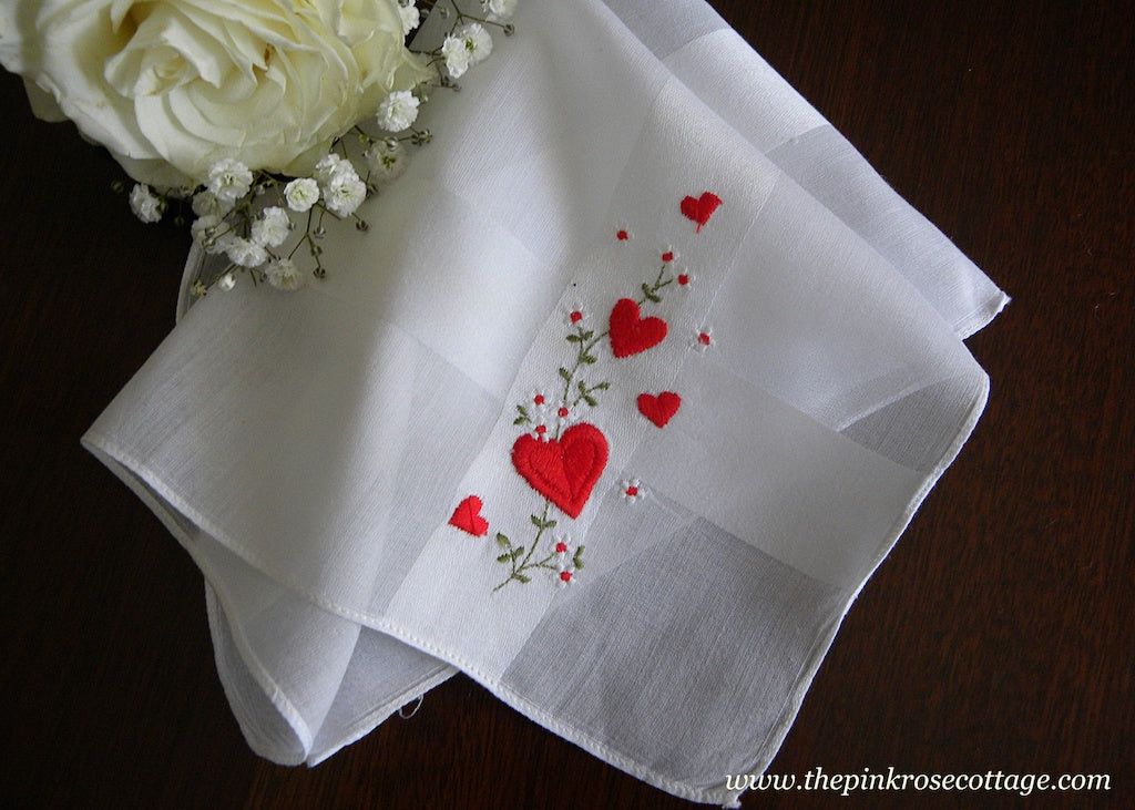 Vintage Hearts and Daisies Valentine's Handkerchief