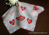 Vintage Hearts Bows and Cupid Valentine's Day Handkerchief