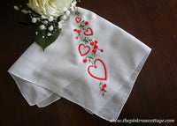 Vintage Embroidered Heart Valentine's Handkerchief