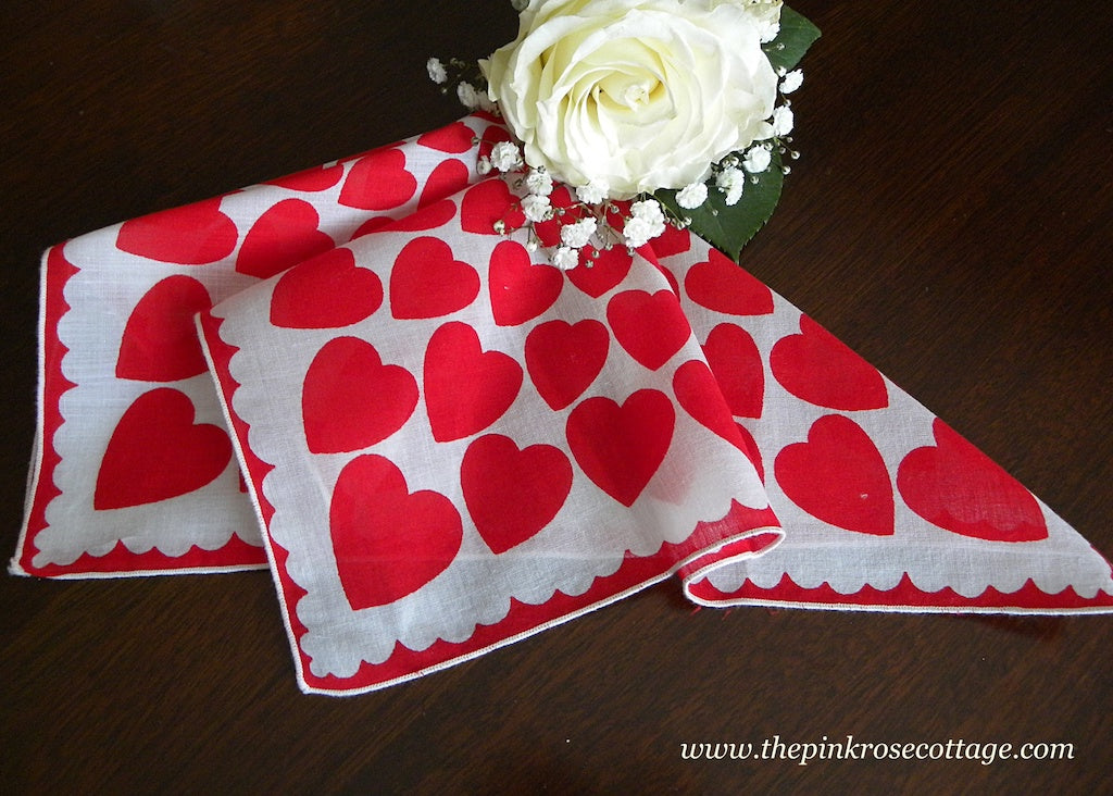 Vintage Valentine's Day Handkerchief TONS of Red Hearts