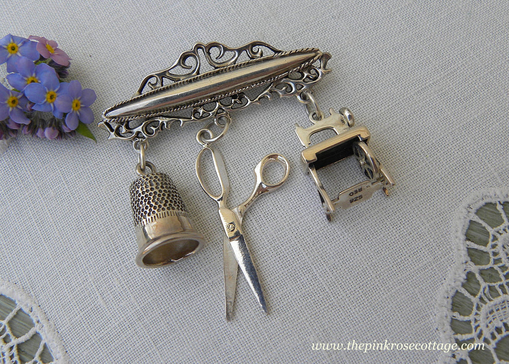 Vintage Sterling Silver Brooch with Thimble Scissors and Sewing Machine Charms