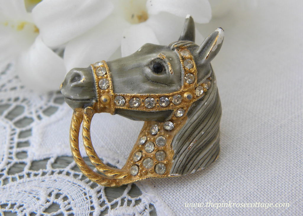 Vintage Enamel and Rhinestones Gray Horse Pin Brooch