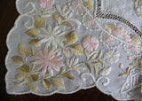 Vintage Hand Embroidered Pink and Green Flowers and Butterflies Silk Handkerchief