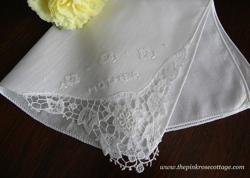 Vintage Embroidered Mother Whitework and Lace Handkerchief
