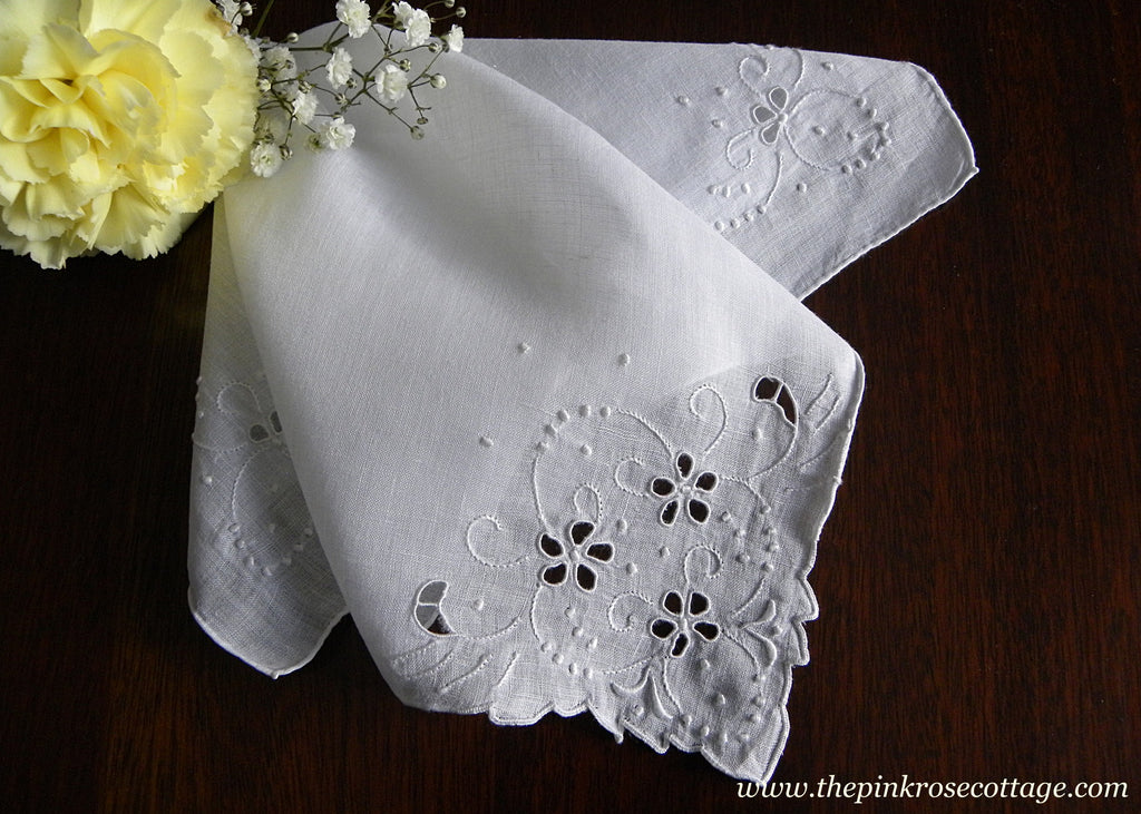 Vintage Madeira Linen Whitework Wedding Bridal Handkerchief with Flowers