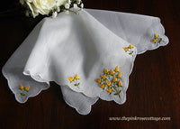 Vintage Embroidered Yellow Rosebud Bridal Wedding Handkerchief