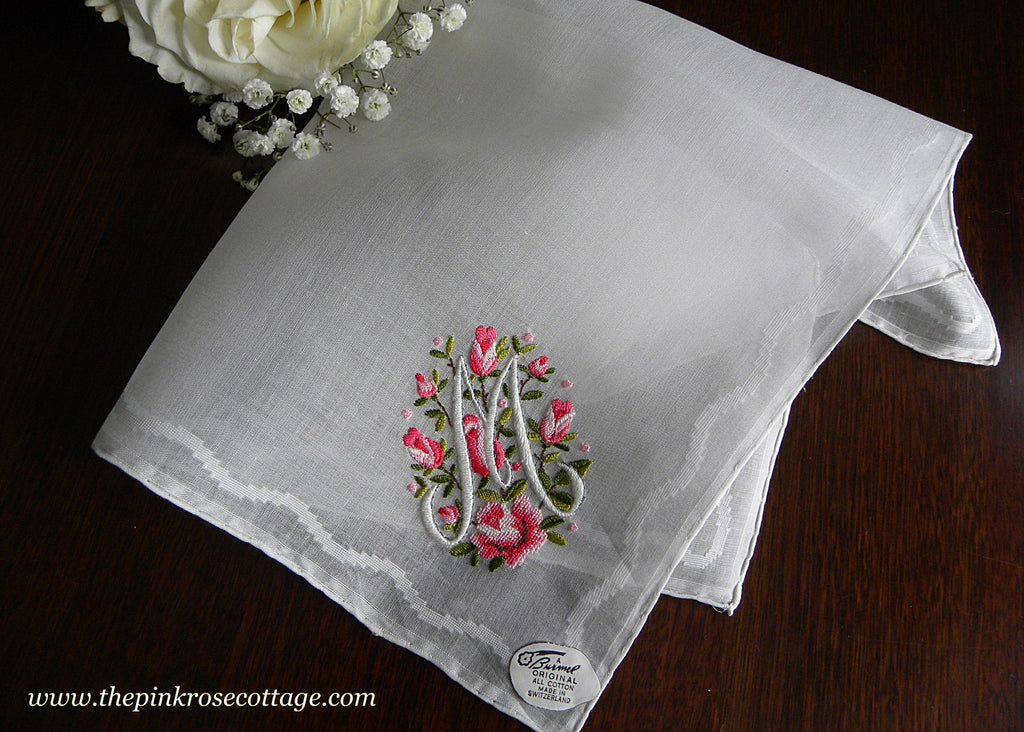 Vintage Burmel Embroidered Pink Roses and Monogram M Handkerchief