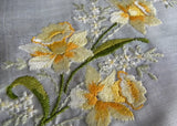 Vintage Tagged Burmel Embroidered Spring Daffodils Handkerchief