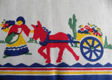 MWT Vintage Pride of Flanders Wilendur Mexican Tea Towel with Donkey Flower Cart - The Pink Rose Cottage