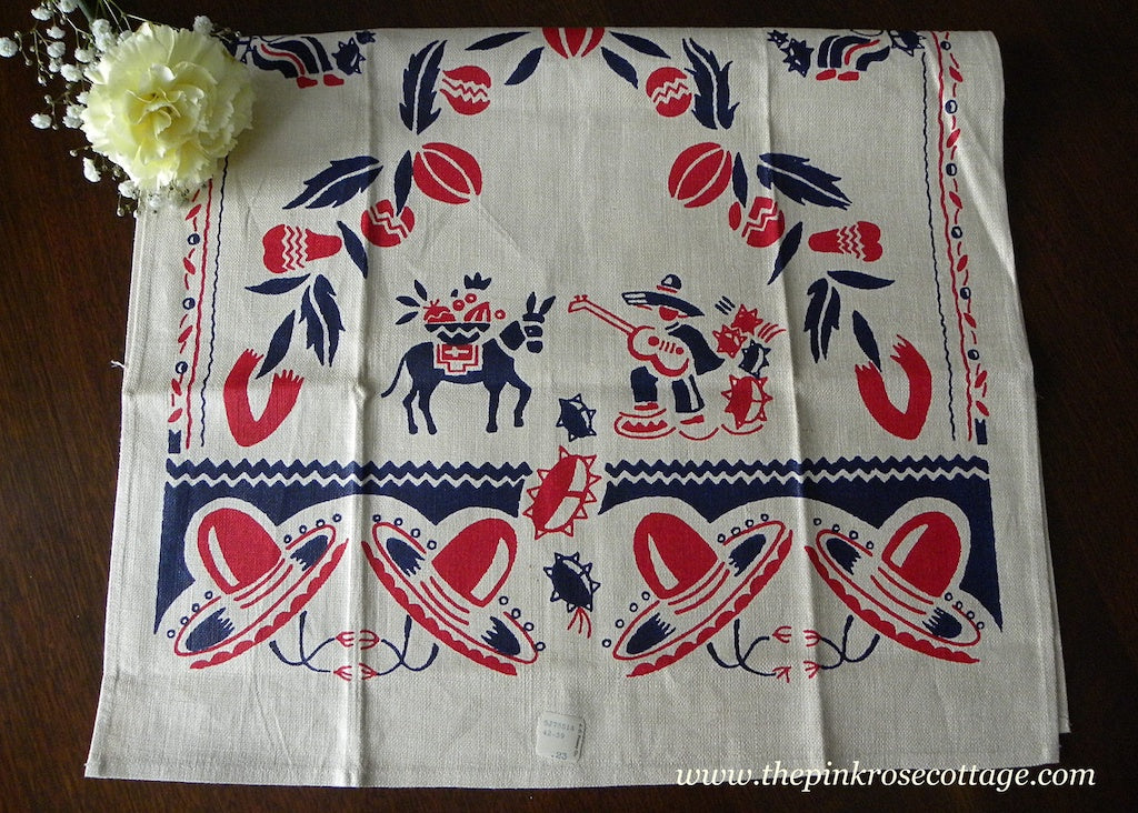 Vintage Mexican Tea Towel Red and Blue Sombrero Guitar Donkey and More