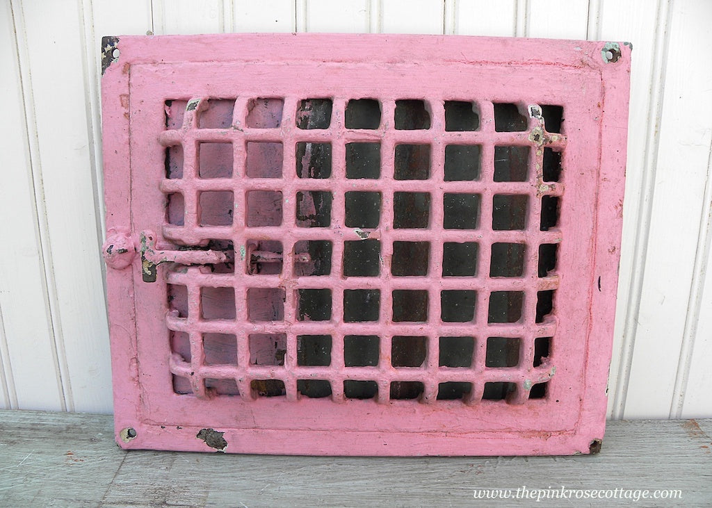 Antique Pink Cast Iron Heater Wall Grate Vent