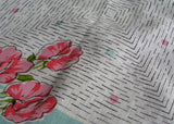 MWT Vintage Carol Stanley Pink and Teal Sweet Peas Handkerchief - The Pink Rose Cottage