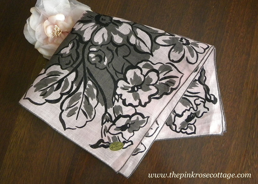 Vintage MWT Irish Linen Bold Floral Gray and Pink Handkerchief