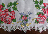 Vintage Pink Rose with Bows Scalloped Handkerchief