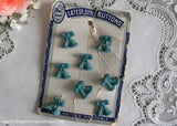 8 Vintage Blue Bow and Tassel Latest Style Buttons - The Pink Rose Cottage