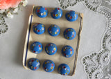 Vintage Blue Painted Flowers Glass Buttons 12 on Card