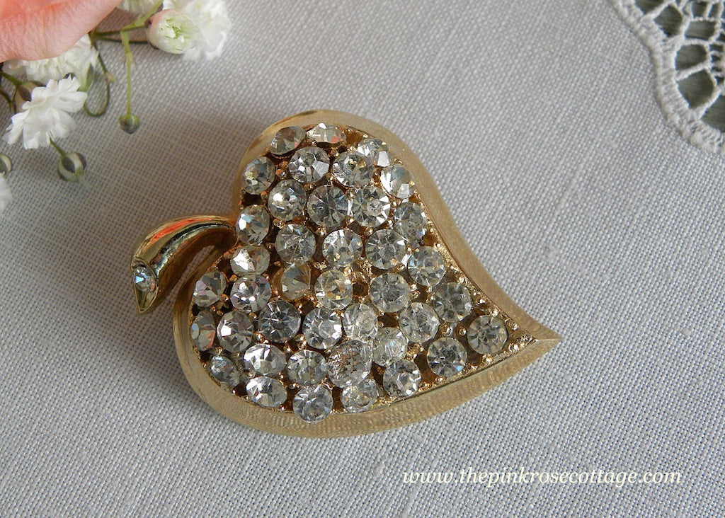 Vintage Rhinestone Heart Shaped Leaf Pin Brooch