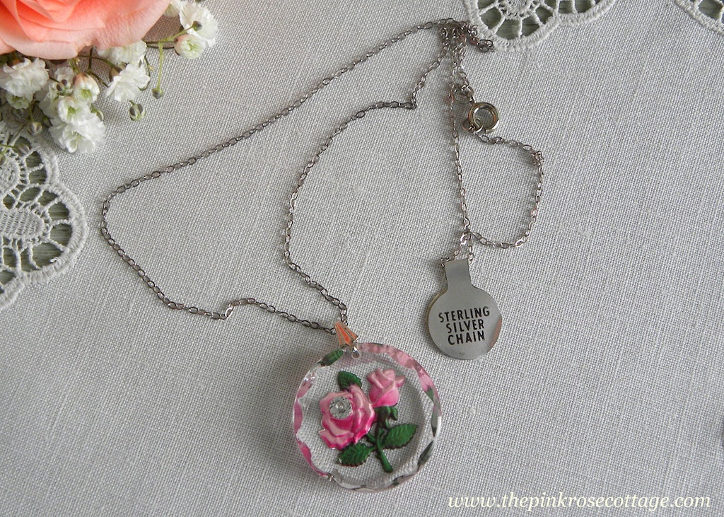 Tagged Vintage Crystal Pink Rose Pendant Necklace Sterling Silver Chain