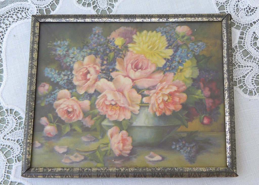 Small Vintage Framed Pink Peonies and Larkspur Print