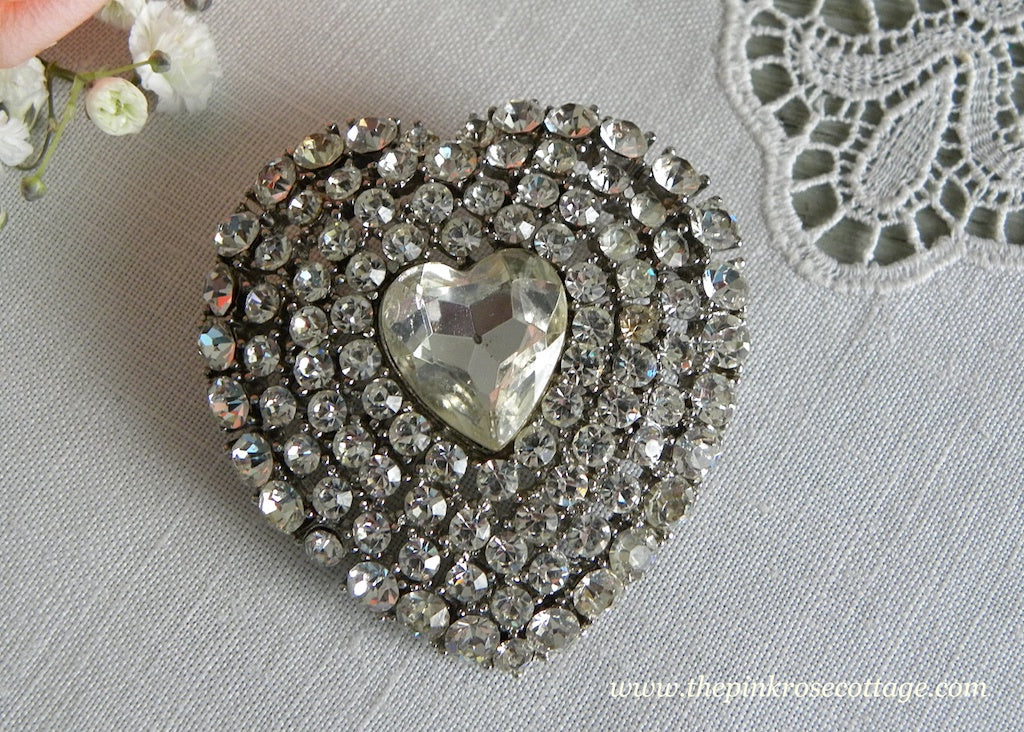 Large Vintage Rhinestone Heart Valentine's Pin Brooch - The Pink Rose Cottage