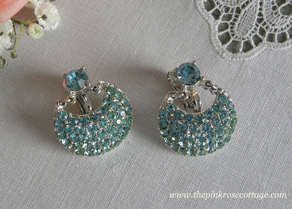 Vintage Light Blue Rhinestone Drop Earrings