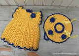 Vintage Hand Crocheted Pot Holders Bonnet and Dress Potholders