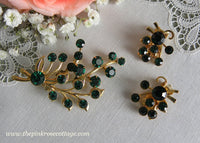 Vintage Emerald Green Floral Spray Pin and Earring Set