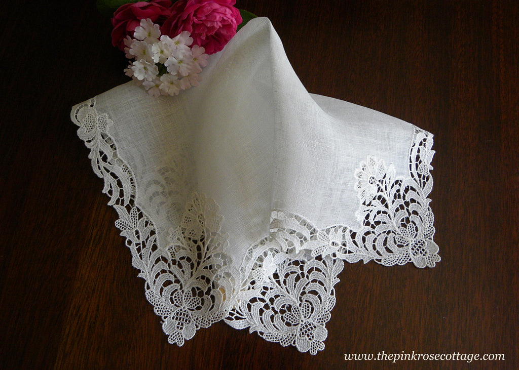 MWT Vintage Desco Linen Bridal Handkerchief with Floral Lace