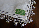 Unused Tagged Vintage Irish Linen Tatted Lace Bridal Wedding Handkerchief