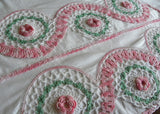 Vintage Crocheted Lace Edge Pink Irish Rose Pillowcases