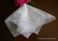 Unused Tagged Vintage Rose Net Lace Bridal Wedding Handkerchief