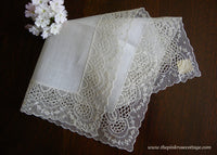 Unused Petite Bridal Wedding Handkerchief with Net Lace