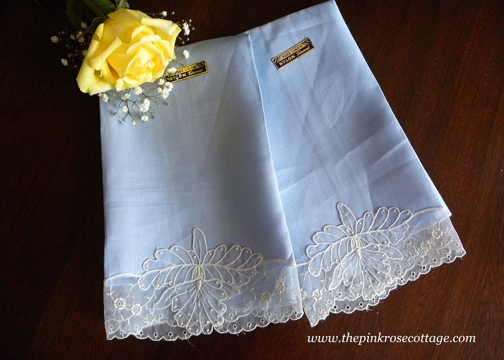 Pair of Tagged Linen Light Blue Hand Guest Towels with Orchids - The Pink Rose Cottage