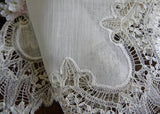Exquisite Antique Hand Made Heirloom Bobbin Lace Bridal Handkerchief