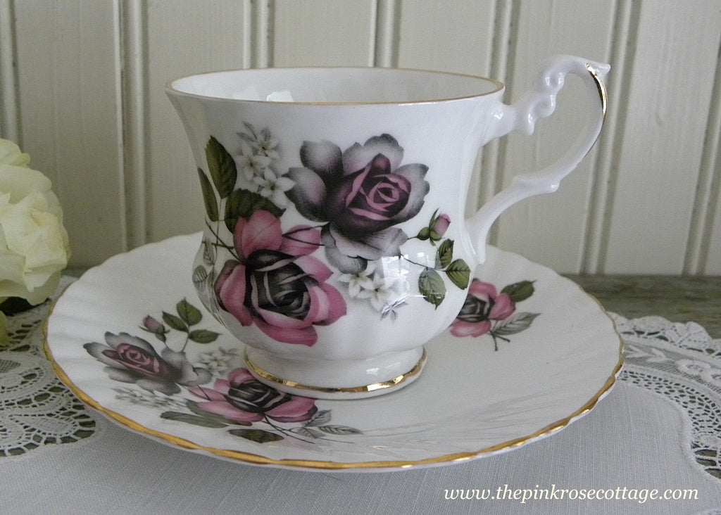 Vintage Pink and Black Roses Teacup and Saucer