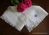 Unused Tagged Vintage Fine Venice Floral Lace Linen Bridal Wedding Handkerchief