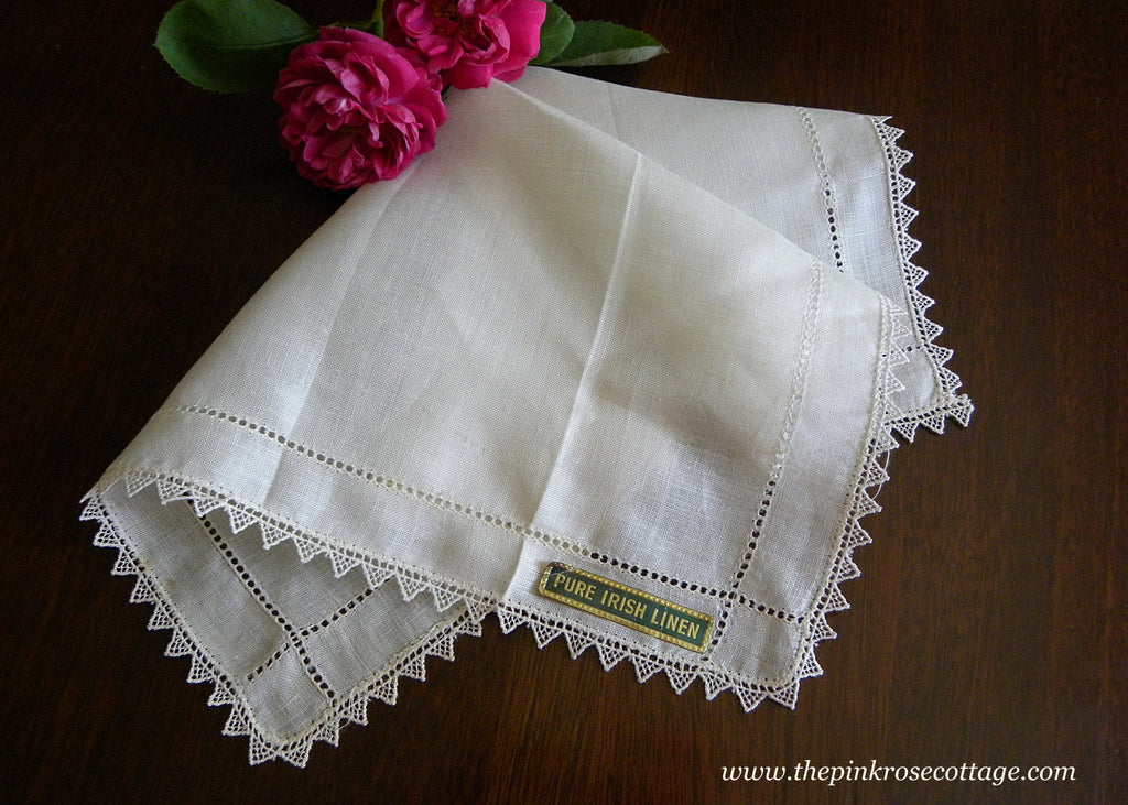 Vintage Unused Irish Linen Lace Trim Bridal Wedding Handkerchief